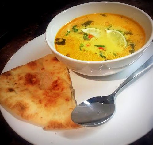 chicken coconut soup and naan